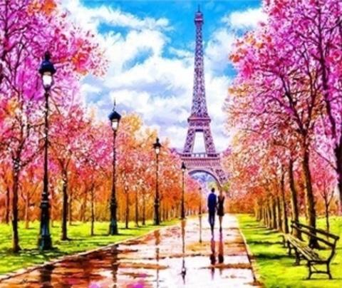 Алмазная Мозаика 30x40 Прогулка по парку Парижа (арт. ZX10237 )