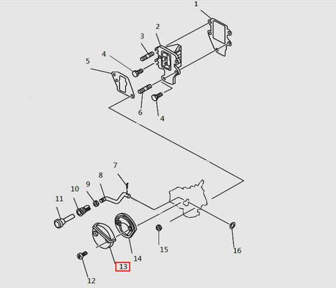 Глушитель (воздухозаборник) карбюратора для лодочного мотора T9.8 Sea-PRO (4-13)