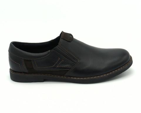 Комбинированные кожаные ботинки с декоративной отстрочкой