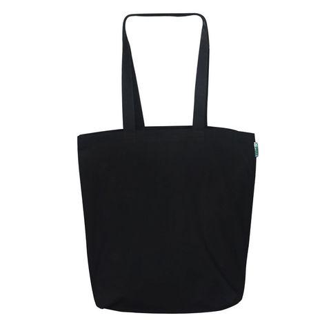 Экосумка без рисунка легкая черная 34х39 см