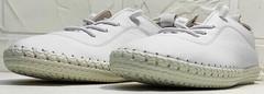 Женские белые кроссовки мокасины спортивные Rozen 115 All White.