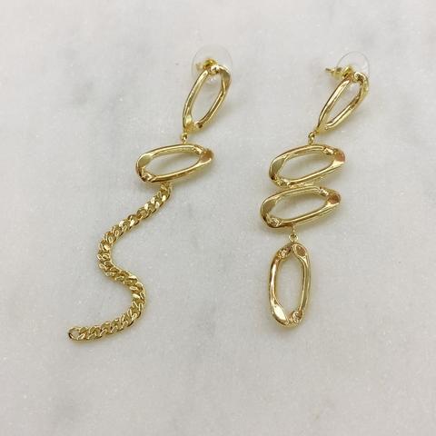 Серьги асимметричные с овальными звеньями и цепочкой (золотистый)
