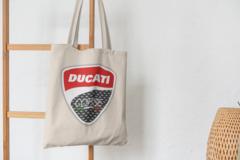 Сумка-шоппер с принтом Ducati (Дукати) бежевая 001