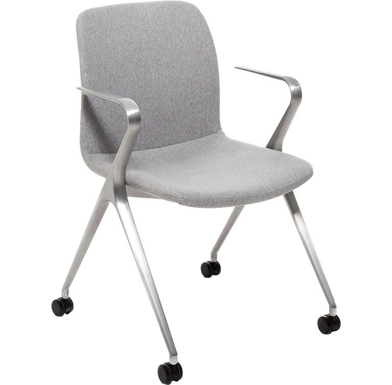 Кресло Hanson Meeting серая ткань / матовый алюминий - вид 1