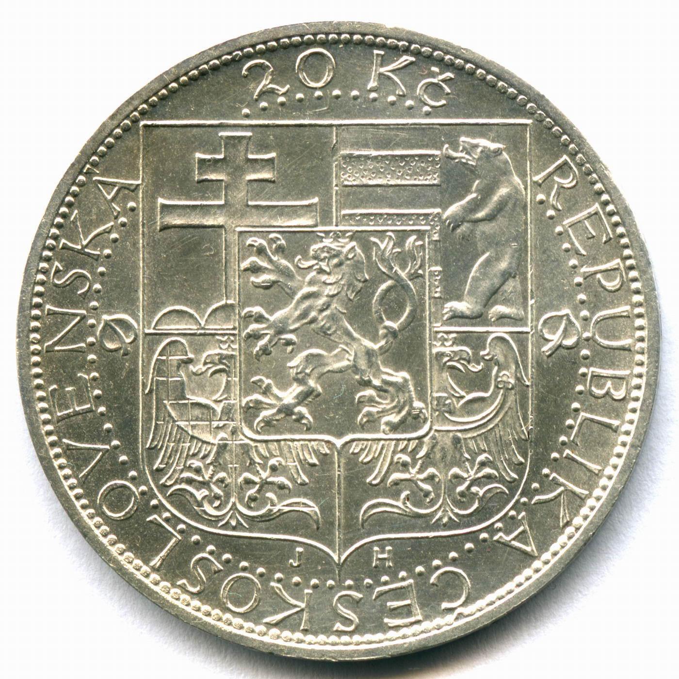 20 крон 1937. Чехословакия (на смерть президента Масарика). Серебро XF