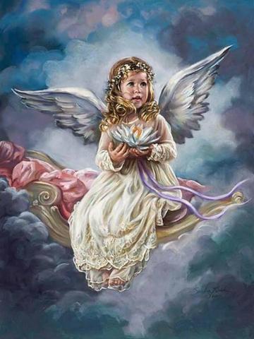 Картина раскраска по номерам 30x40 Ангелок на качели в небе