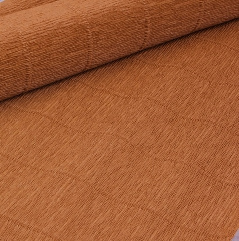 Бумага гофрированная, цвет 567 светло-коричневый, 180г, 50х250 см, Cartotecnica Rossi (Италия)