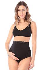 Euromama/Евромама. Трусы для беременных высокие с кружевом, черные вид 3