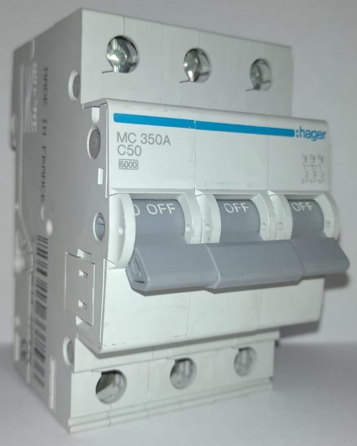 арт.MC350A; Автоматический выключатель 3P 6kA C-50A 3M