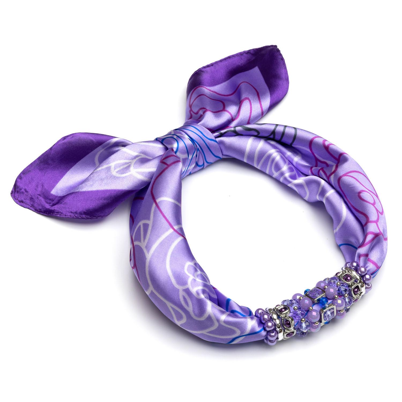 Шелковый платок фиолетовый