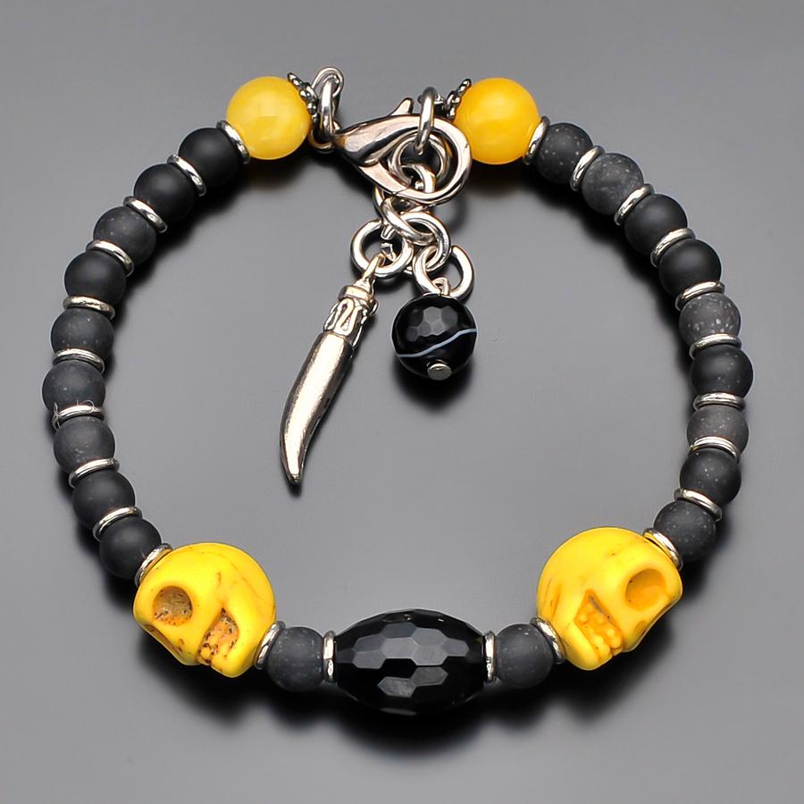 Стильный мужской браслет с черепами из натурального агата, шунгита, яшмы и керамики Rico la Cara AMX003137