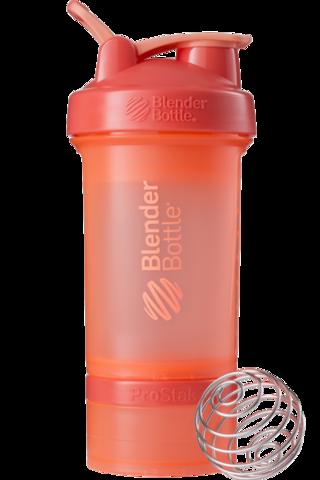 BlenderBottle ProStak, 650мл Шейкер с 2мя контейнерами, таблетницей и пружиной коралловый оранжевый