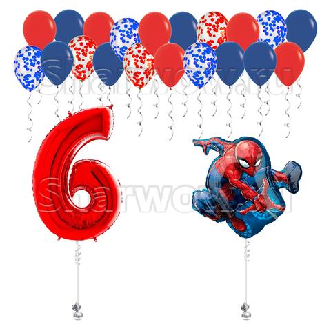 Композиция из воздушных шаров с гелием и цифрой