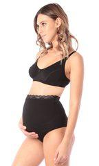 Euromama/Евромама. Трусы для беременных высокие с кружевом, черные вид 4