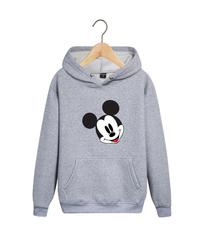 Толстовка серая с капюшоном (худи, кенгуру) и принтом Микки Маус (Mickey Mouse) 002