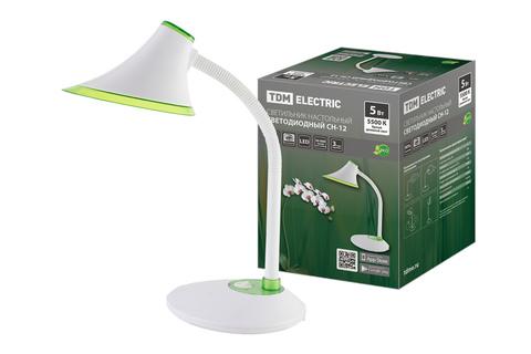 Светильник светодиодный настольный СН-12, 5 Вт, гибкий, выключатель, 5500 К, зеленый, 220 В, TDM