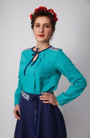 Блуза Самоцветы бирюза приближенный фрагмент