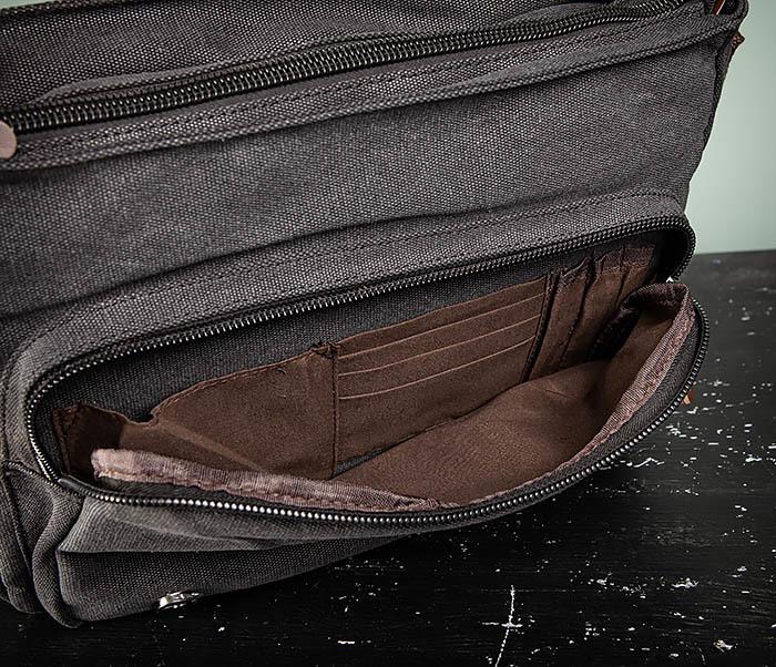 BAG504-1 Удобная городская сумка портфель из ткани серого цвета фото 11