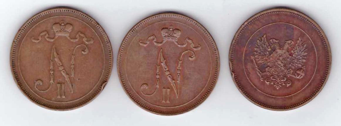 Набор из 3 монет 10 пенни (1905, 1916, 1917 гг.) Николай II. Россия для Финляндии. VF-XF