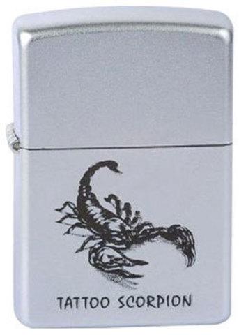 Зажигалка Zippo Tattoo scorpion с покрытием Satin Chrome™, латунь/сталь, серебристая, матовая123