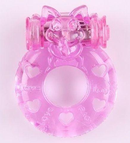 Розовое виброкольцо  Задорный кролик
