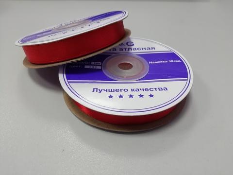 Лента атласная Красная 12 мм, 27м