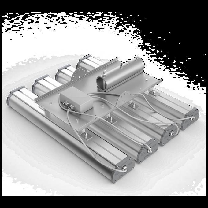 Общий вид консольного крепления светодиодных светильников Iron в группу по четыре