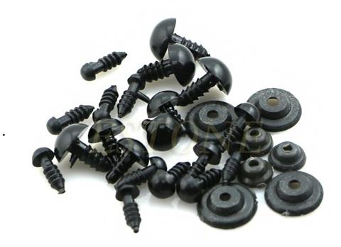 Винтовые глаза для игрушек черные 5-20мм