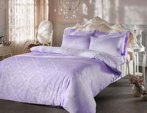 Постельное белье BAMBURA  лиловый жаккард deluxe TIVOLYO HOME Турция