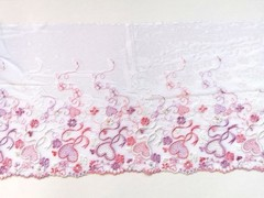 Вышивка на сетке, ПРАВАЯ, 20 см, белый/розовые сердечки, (Артикул: VS-1028), м