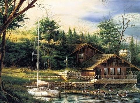 Алмазная Мозаика 40x50 Уютный домик и белая лодка (арт. MGL8047 )