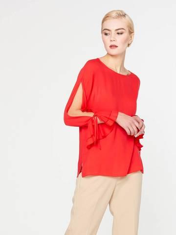 Фото красная блузка с разрезом до манжет на рукавах - Блуза Г607-506 (1)