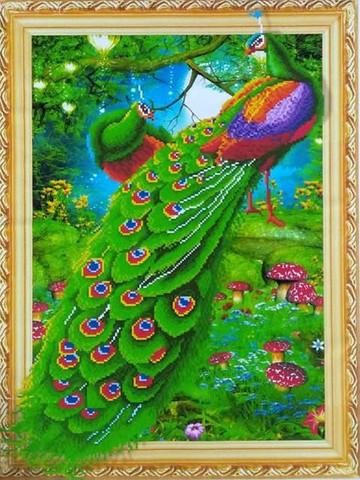 Алмазная Мозаика 5D 40x50 Павлины и грибы