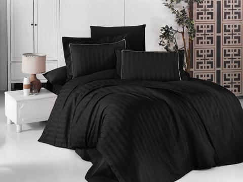 Комплект постельного белья DO&CO Сатин жаккард DELUX DRAWING Семейный цвет черный