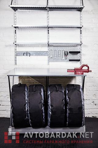 Верстак (стеллаж для шин) с металлической столешницей 1190х740 мм