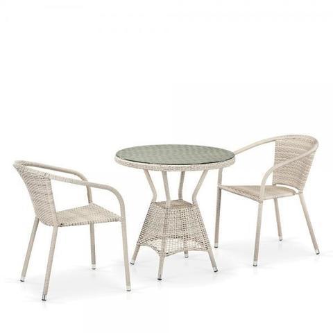 Комплект плетеной мебели из искусственного ротанга T705ANT/Y137C-W85 2Pcs Latte