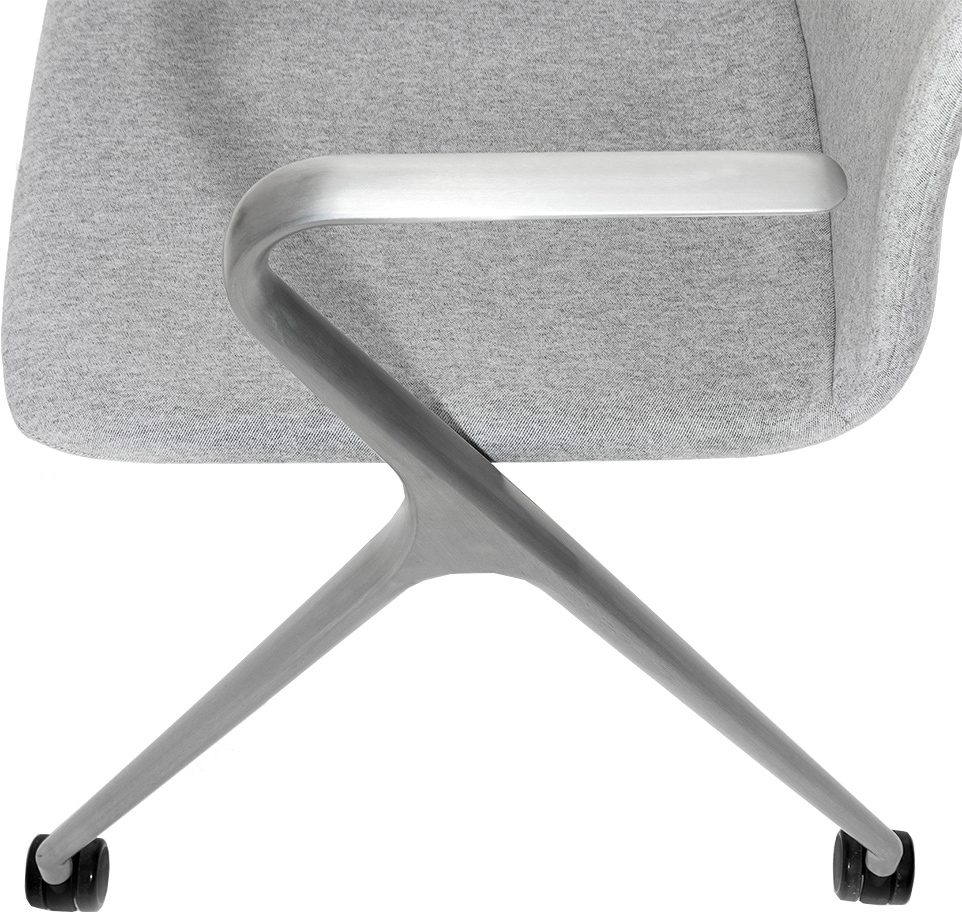 Кресло Hanson Meeting серая ткань / матовый алюминий - вид 8