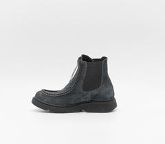 Синие ботинки из нубука на утолщенной подошве