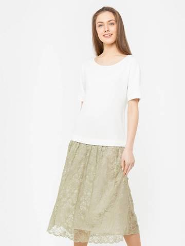 Фото легкое серое платье с коротким рукавом и кружевной юбкой - Платье З271-477 (1)