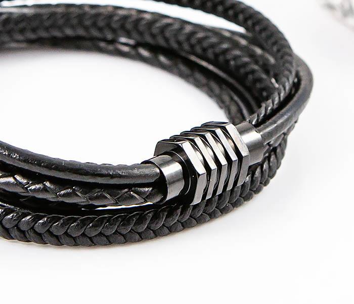BM561-1 Двойной браслет из кожаных шнуров фото 05