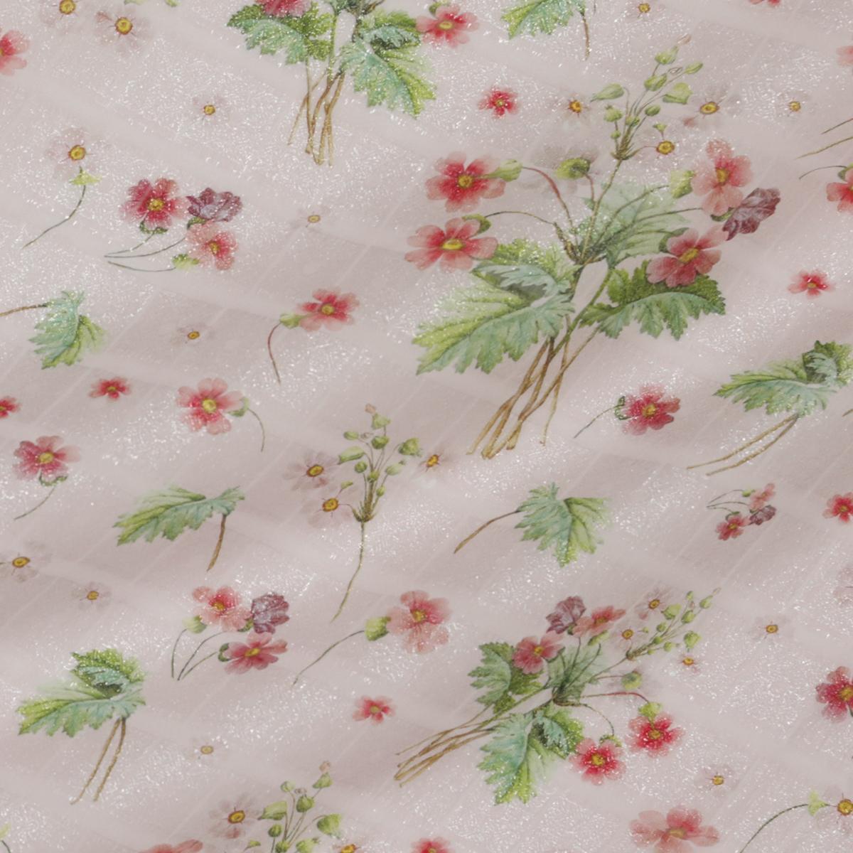 """Жаккард шёлковый """"Непал"""" нежно-розового цвета с ягодами"""