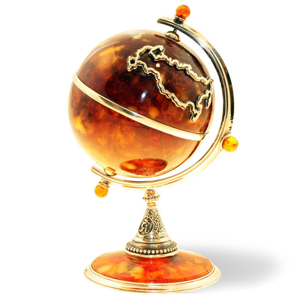 глобус из янтаря - подарок на стол руководителю