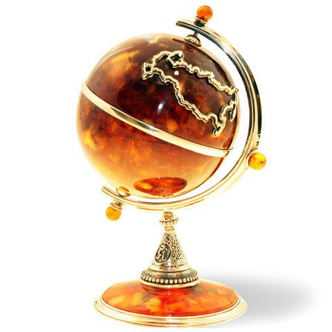Сувенир «Глобус» из янтаря и бронзы