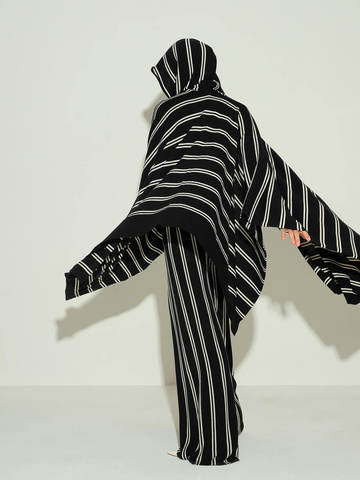 Женский шарф из шерсти в полоску - фото 5
