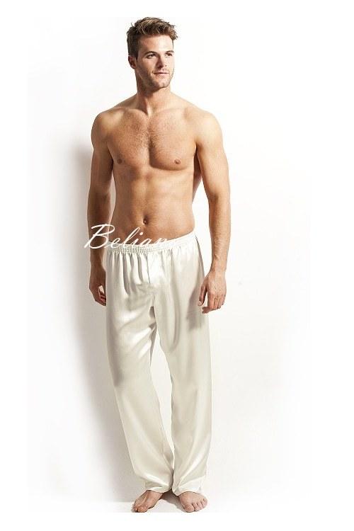 Качественные шелковые мужские брюки пижамные для дома. Натуральный шелк, цвет кремовый, купить Киев