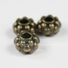Бусина металлическая - рондель 6х5 мм (цвет - античная бронза), 10 штук