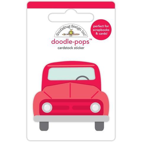 Паф-стикер Красная машинка Doodlebug Doodle-Pops 3D Stickers