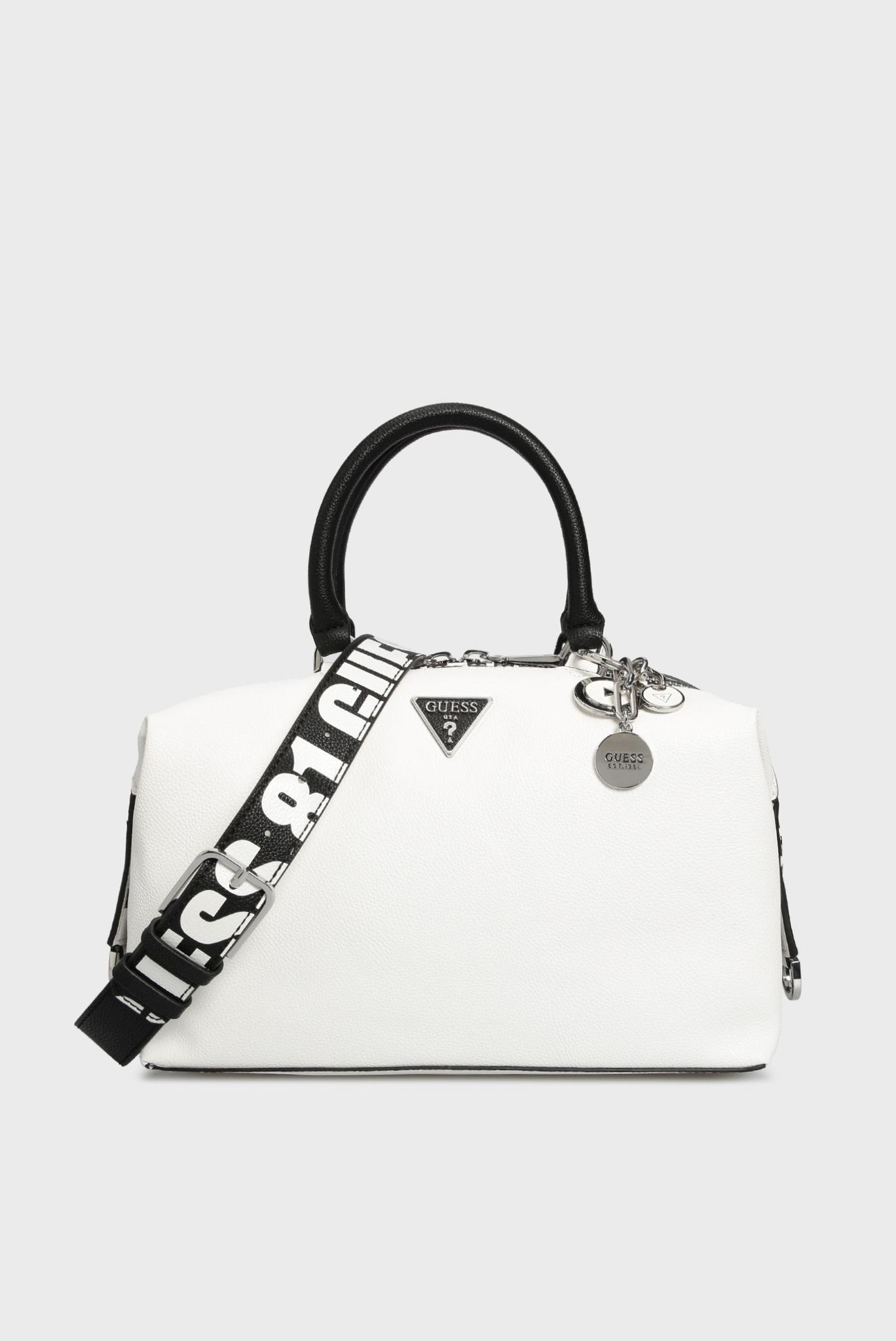 Женская белая сумка через плечо Guess
