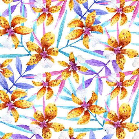 Яркий тропический принт с орхидей