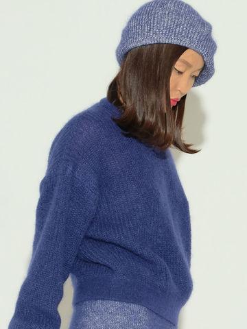 Женский джемпер темно-синего цвета из мохера и шерсти - фото 2